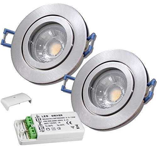 LED Bad Einbaustrahler 12V inkl. 2 x 5W LED LM Farbe Eisen geb. IP44 LED Einbauleuchten Neptun Rund 3000K mit Trafo