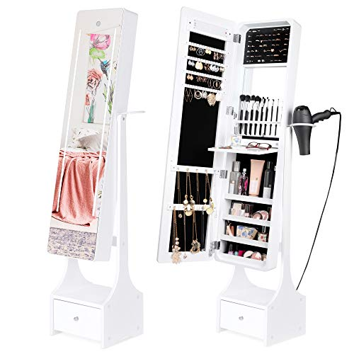 Best Choice Products Full-Length Standing LED Mirrored Jewelry Makeup Storage