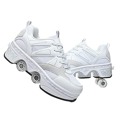 AGLOAT Mädchen und Kinder Rollschuhe Schuhe mit Rollen Verstellbar Quad Kick Roller Skates for Women 2 in 1 Inline-Skates Deformation Sneakers für Anfänger,Grau-38EU