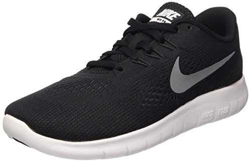 Nike Nike Jungen Free Rn (GS) Laufschuhe, Schwarz (Black/Metallic Silver-Anthrct), 36.5 EU