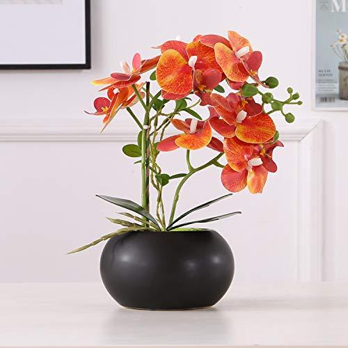 ENCOFT Kunstblumen orchideen Kunstpflanze Künstliche Blumen aus Eva Keramik Wohndeko Kunstbulme mit Übertopf Garten Balkon Wohnzimmer Hochzeit (Orange, 43 cm)