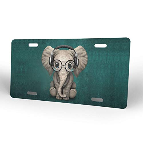 Elephant Baby Wearing Glasses & Headphones2 License Plate Car Front License Plate Cover for Women Men Novelty License Plate Decorative, 6 X 12 Inch