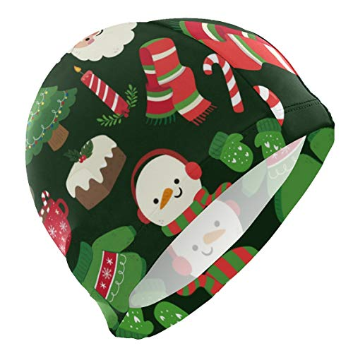 PNGLLD Swimming Cap Christmas Tree Santa Claus Snowman Swim Cap for Men Boy Adult Youth Teen Swimming Hat No-Slip
