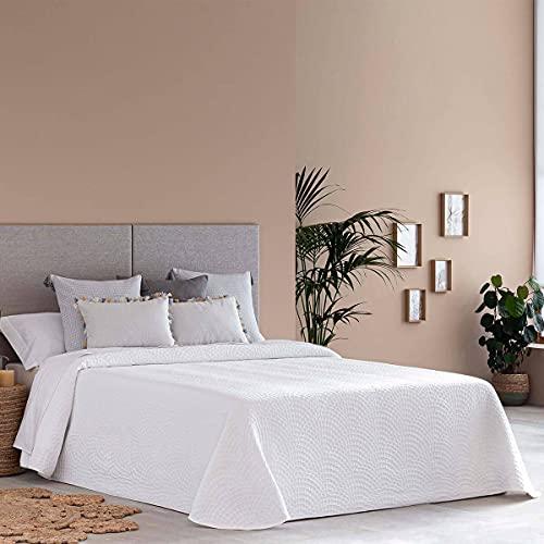 Lanovenanube Colcha Capa Onda - Cama 150 cm - Color Blanco