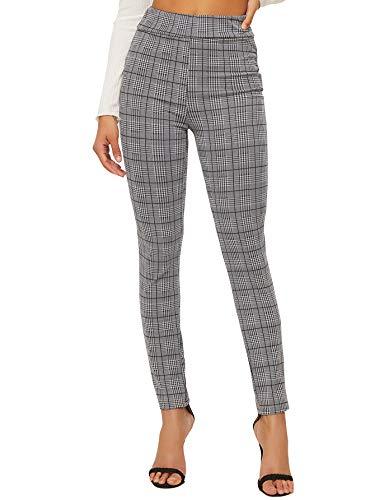 SweatyRocks Women's Casual Skinny Leggings Stretchy High Waisted Work Pants Black White Plaid Large