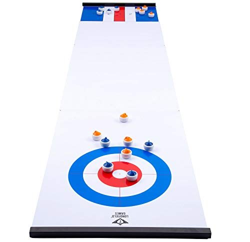 Engelhart - 2 in 1 Curling and Shuffleboard Table-Top Game - 180cm, Compact Curling Spiel und Reversible Paletten - 340500