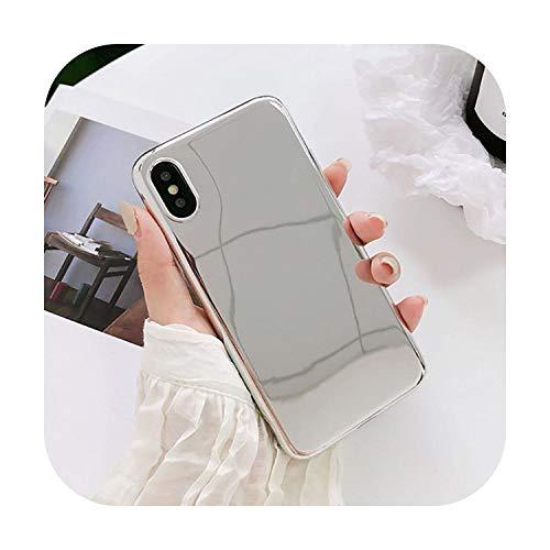 Funda de lujo transparente con espejo para iPhone X XS XR XS Max 6 6S 7 8 Plus de estilo divertido para parejas de protección suave IMD