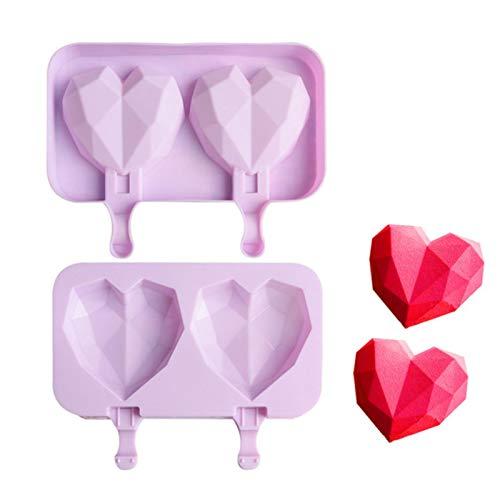 QIEZI Molde de silicona con forma de corazón y diamante para hacer cubitos de hielo con forma de corazón, molde de diamante con forma de mousse, herramienta de cocción para hacer chocolate o helado