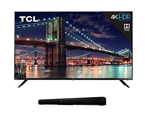 """TCL 55R617 55-Inch 4K Ultra HD Roku Smart LED TV (2018 Model) with 5 2.0 Channel Home Theater Sound Bar - Ts5000, 32"""", Black"""