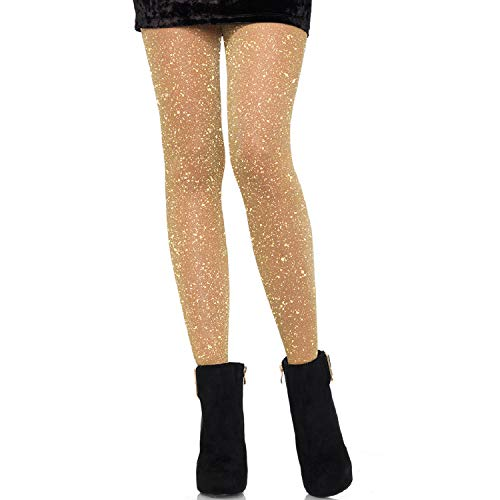 Leg Avenue Women's Lurex Tights Hosiery, Gold, One Siz