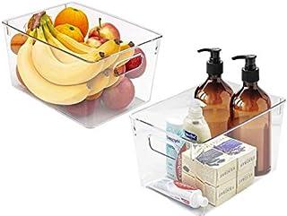 Sorbus förvaringsfack klar plast organiserare behållare med handtag – mångsidig för kök, kylskåp, skåp, matskafferi, badru...