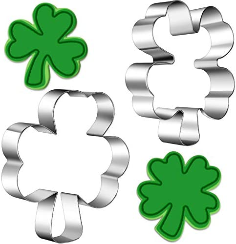 2 Pieces St Patrick s Day Cookie Cutter Shamrock and Clover Biscuit Cutter Stainless Steel Clover product image