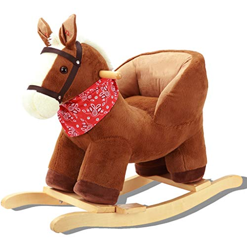 Review Rocking horse ZJING Children's Wood with Music Small Wooden Horse Dual-use Baby Baby Rocking ...
