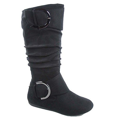 TOP Moda Bank-81 Women's Fashion Round Toe Flat Heel Zipper Buckle Slouchy Mid-Calf Boot Shoes (5 B(M) US, Black)