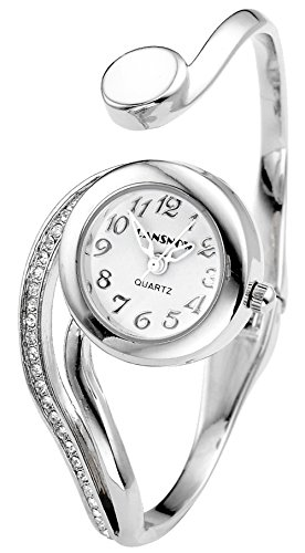 Top Plaza Women Casual Elegant Silver Tone Small Dial Bangle Cuff Bracelet Dress Analog Quartz Watch