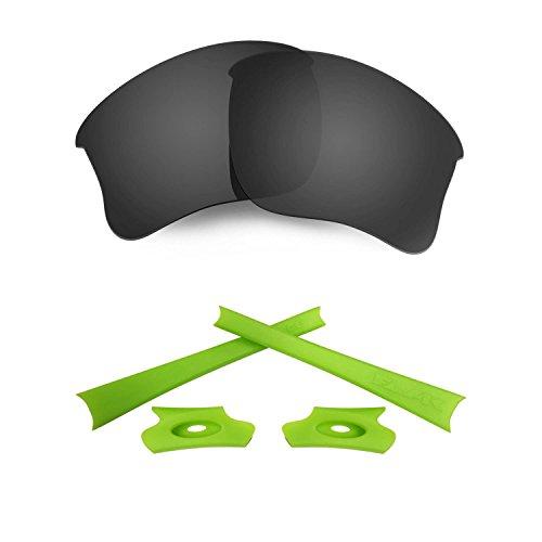 HKUCO for Oakley Flak Jacket XLJ Black Polarized Replacement Lenses and Light Green Earsocks Rubber Kit