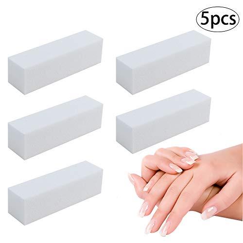 Snner 5 PCS Nail Art Pufferblock 4 Way Nail Schwabbelaggregat Datei Nagel-Polierschleif Dateien Professionelle ManiküRe-Nagel-Kunst-Werkzeug (Weiß)