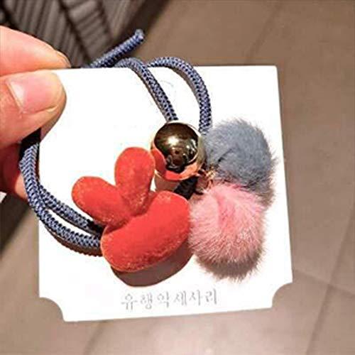 Rabusion Kid Girl Colorful Plush Hair Rope Rabbit Heart Star Elasticity Hair Band Headwear Headdress Q5#
