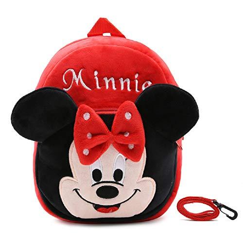 CHDJ Sac à Dos en Peluche avec Harnais de sécurité et Laisse pour Enfant Rouge Minnie 2-4 Ans