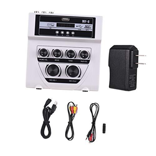 ULTECHNOVO karaoke micrófono mezclador mezclador de audio equipo de sintonizador de sonido en salida para karaoke amplificador de cine en casa altavoz (blanco)
