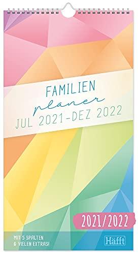 FamilienPlaner 2021/2022 mit 5 Spalten, 22,5 x 42 cm [Rainbow] Wandkalender 18 Monate: Jul 21 - Dez 22   Familienkalender Wandplaner: Ferientermine & viele Zusatzinfos   klimaneutral & nachhaltig