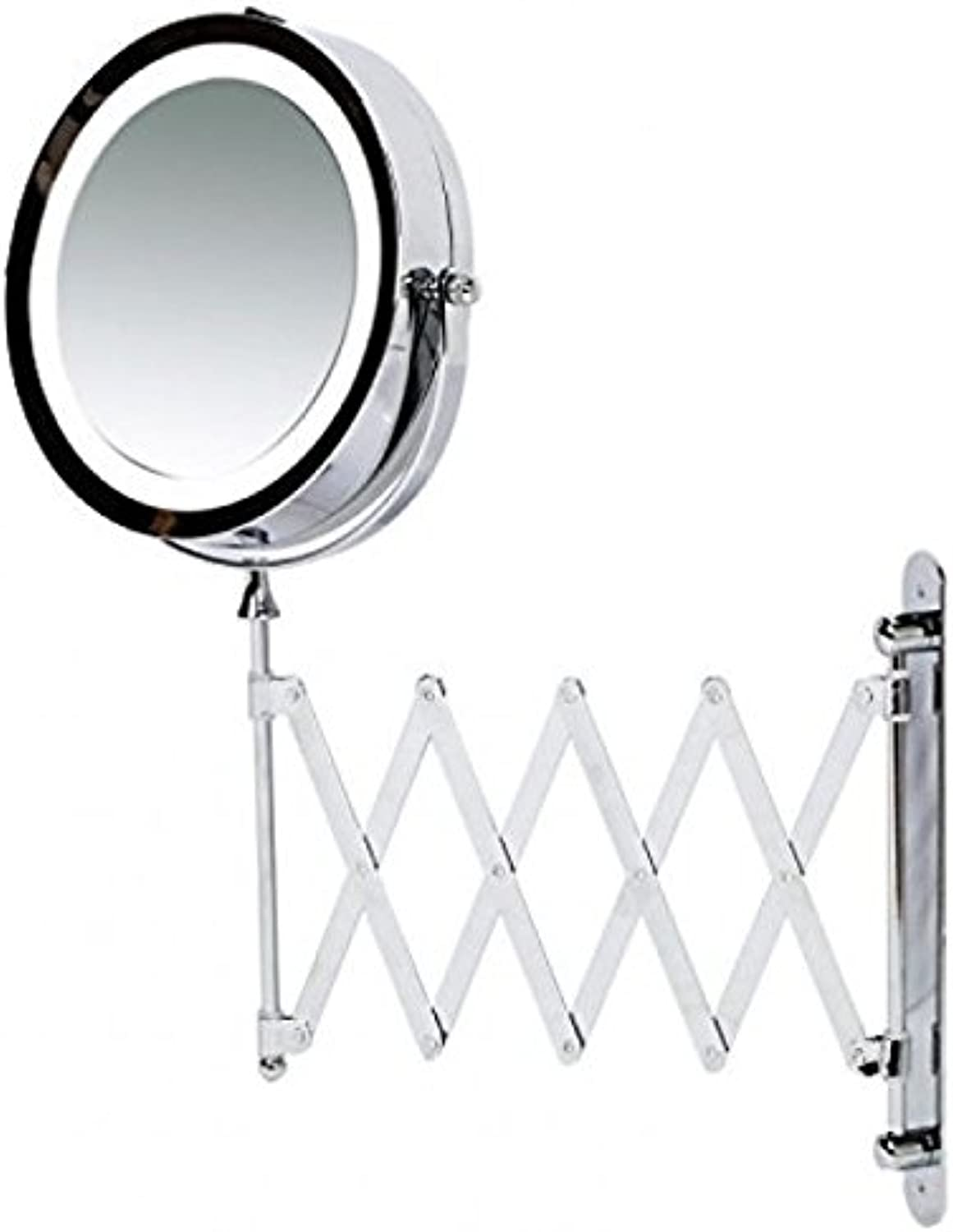 Makeup Mirror, Wall Mounted Magnifying with LED Light - Extending Vanity