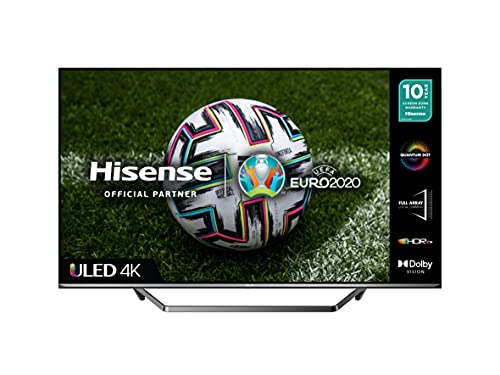 HISENSE 50U7QFTUK Quantum Series 50 Zoll 4K UHD HDR Smart TV mit Freeview Play & Alexa eingebaut (2020 Serie), Silber