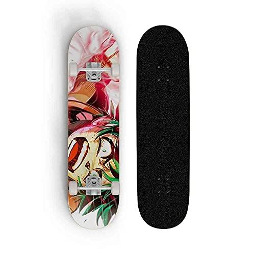 Dmxiezib Dibujos Animados My Hero Academia: Midoriya Izuku Skateboard Boys Girls Beginners Professional Adult Road Brush Street Maple Tableros de Arce de Cuatro Ruedas Skateboard 31'x8