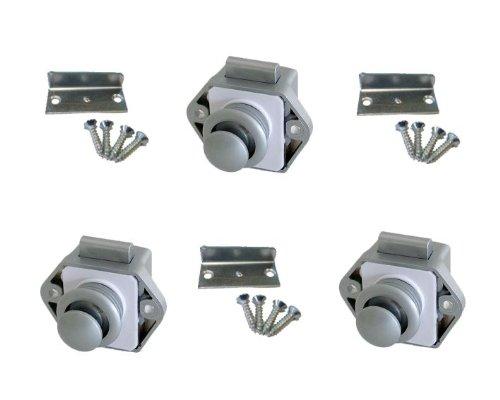Freizeit Wittke Push Lock - Minischloss - 26mm Rosette+Knopf - 3er Set - Silber