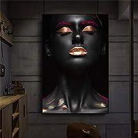 キャンバスプリントアフリカの女性インドのポスター北欧のキャンバス絵画リビングルームの黒と金のスカンジナビアの壁の芸術の写真-50x70cmフレームなし