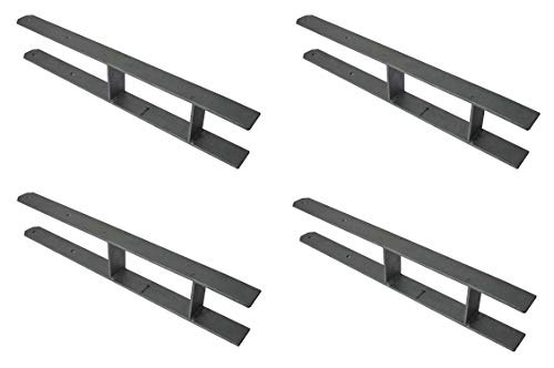 4 X Pfostenanker H-Träger 600X50X5 mm für 101mm / 100mm (10,1cm/10cm) Balken H-Anker Carport Pfostenträger Zaun Geländer
