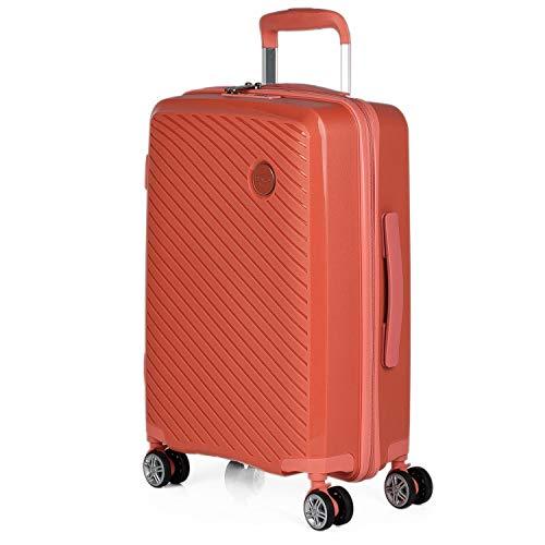 ITACA - Maleta de Viaje Cabina Rígida 4 Ruedas Trolley 55 cm. Polipropileno Equipaje de Mano. Pequeña Cómoda Ligera y Bonita. Low Cost. Candado TSA. 760050, Color Coral