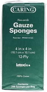 Medline PRM21412CZ Caring Woven Non-Sterile Gauze Sponges, 12-ply, 4