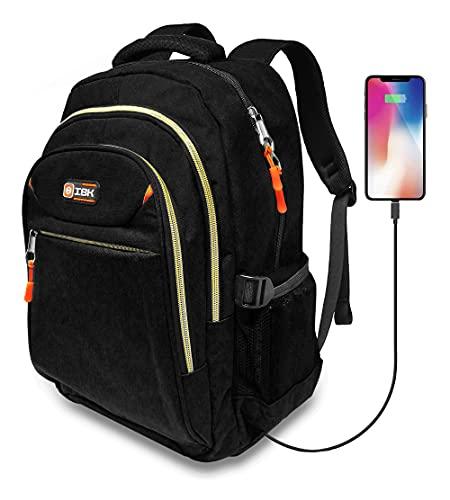 IBK Zaino da viaggio per PC Computer Portatile Laptop Notebook, tessuto impermeabile, 15.6 Pollici, con Caricatore USB, Lavoro Uomo Donna per Scuola, Jeans Grigio Nero (Nero)