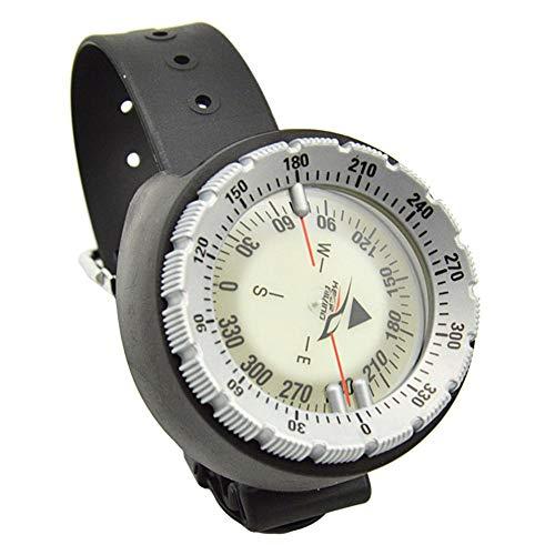 N/I Mini-Kompass, wasserdicht, 50 m, Unterwasser-Kompass, Camping, Schwimmen, Armbanduhr, Tauchen, Scuba, fluoreszierendes Zifferblatt, Kompass, Outdoor-Werkzeuge, grau