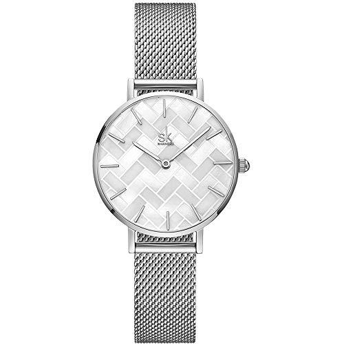 SHENGKE Estrella Relojes para Mujer Reloj Damas de Malla Impermeable Elegante Banda de Acero Inoxidable Relojes de Pulsera Moda Vestir Negocio Casual Reloj de Cuarzo (Shell Dial-Mesh Band-Silver)