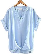 Fosys シャツ レディース ブラウス 半袖 トップス 夏服 Vネック 無地 ゆったり 綿麻混 8色 5サイズ