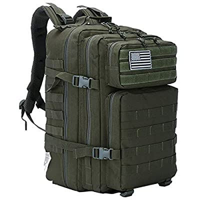 LHI Military Tactical Backpack for Men and Women 45L Army 3 Days Assault Pack Bag Large Rucksack with Molle System - Army Green