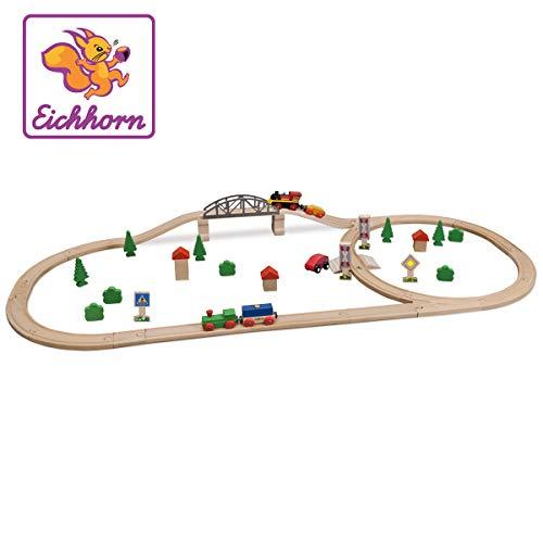 Eichhorn 100001275 - Schienenbahn Bahnset mit Brücke in Kunststoffbox, 55 teilig