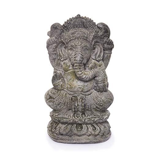 NaRoom Ganesha Steinfigur Hindu Gottheit ca. 36 cm groß Stein Statue Elefant-Kopf Skulptur Massiv Lavasand grün-schimmernd