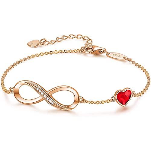 Pulseras de Plata de Ley 925 para Mujer Joyería Pulsera Ladies Love Heart Bracelets Regalos para su Mujer Esposa mamá (Color : 3)