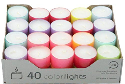 Wenzel-Kerzen Summer Edition Colorlights Teelichte mit Langer Brenndauer, 100% Paraffin, Bunt, Höhe 24 mm Durchmesser 38 mm