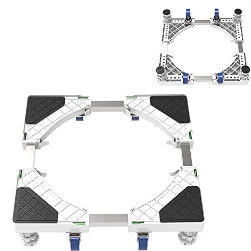 Mfnyp Lave Socle de la Machine, avec 4 × 2 Roues rotatives et Les Freins et Quatre Pieds de Support réglables pour sèche-Linge, Lave-Linge,Fourleggedfourwheel