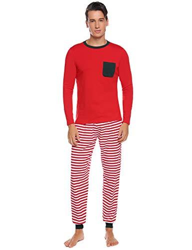 Abollria Schlafanzug Lang Herren 2 Teiler Gestreift Pyjama Set mit Brusttasche Leicht Jersey HausanzugRot,L