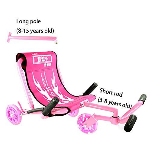 CHB Longue Voiture Swing Voiture Yo Voiture Twist Voiture Poussette Pied étape Voiture Scooter bébé Jouet en Plein air Voiture avec la lumière pour Les différents âges,Pink
