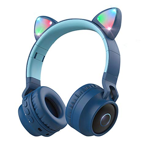 Wireless Bluetooth Kids Headphones, Aresrora Cat Ear Bluetooth Wireless/Wired Headphones Volume Limiting,LED Light Up Kids Wireless Headphones Over Ear with Microphone (Blue)
