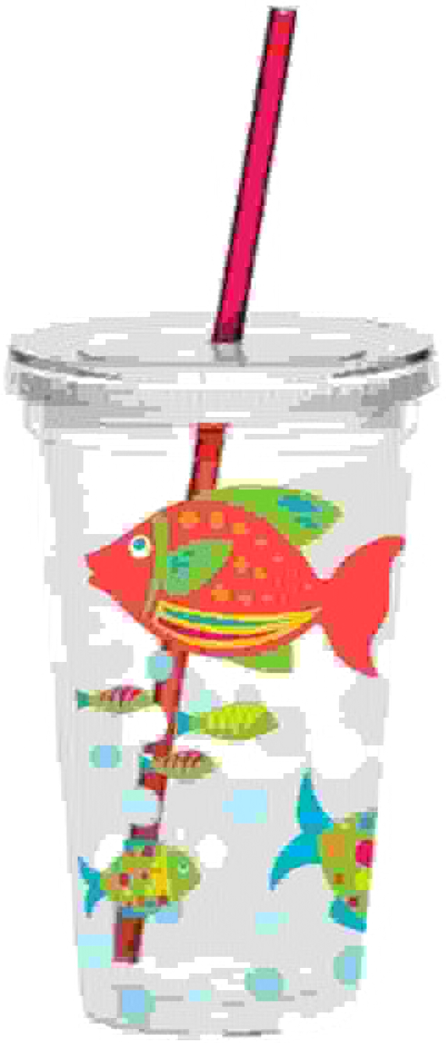 costo real Boston Warehouse Go Fish 16-Ounce Insulated Tumble with with with Straw by Boston Warehouse  minoristas en línea