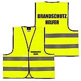 Warnweste Gelb Orange, beidseitig bedruckt auf Brust und Rücken mit Ordner, Security große Auswahl Motive Aufdrucke 019 Brandschutzhelfer (Gelb) XL