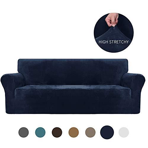 XDKS Funda De Sofá 3 Plazas,Funda Elástica De Sofá Funda Color Sólido para Sofá Antideslizante Protector Cubierta De Muebles (3 Plazas/sofá,Azul Marino)