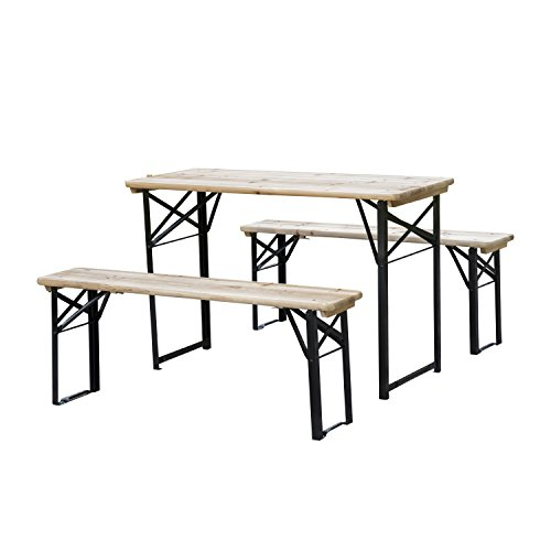 Outsunny Conjunto de Mesa y Bancos Set de Muebles Plegables para Picnic Mesa Cervecera Amplia de 120x50x76cm